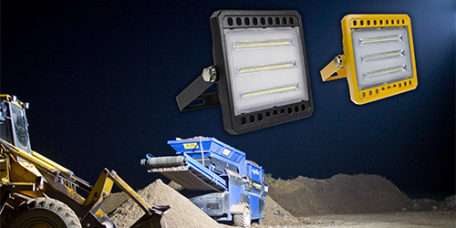 Construction site with site lighting products within the night's sky