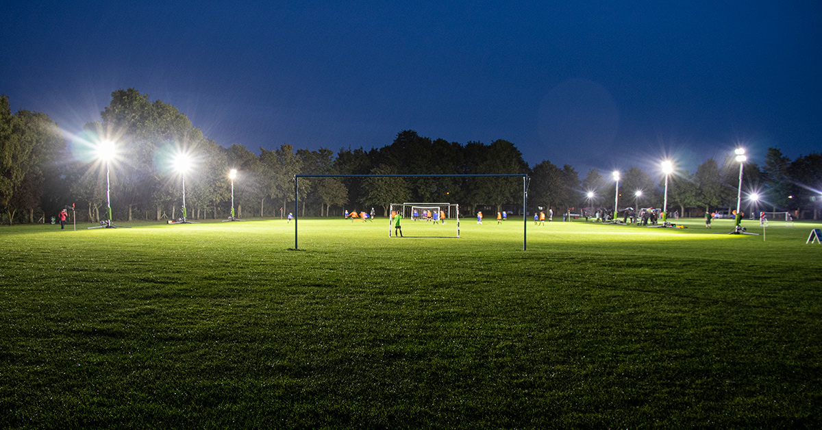 Ritelite Demo the Quad Pod K65 and K45 360 Lighting Towers at Thurlby Tigers Football Club